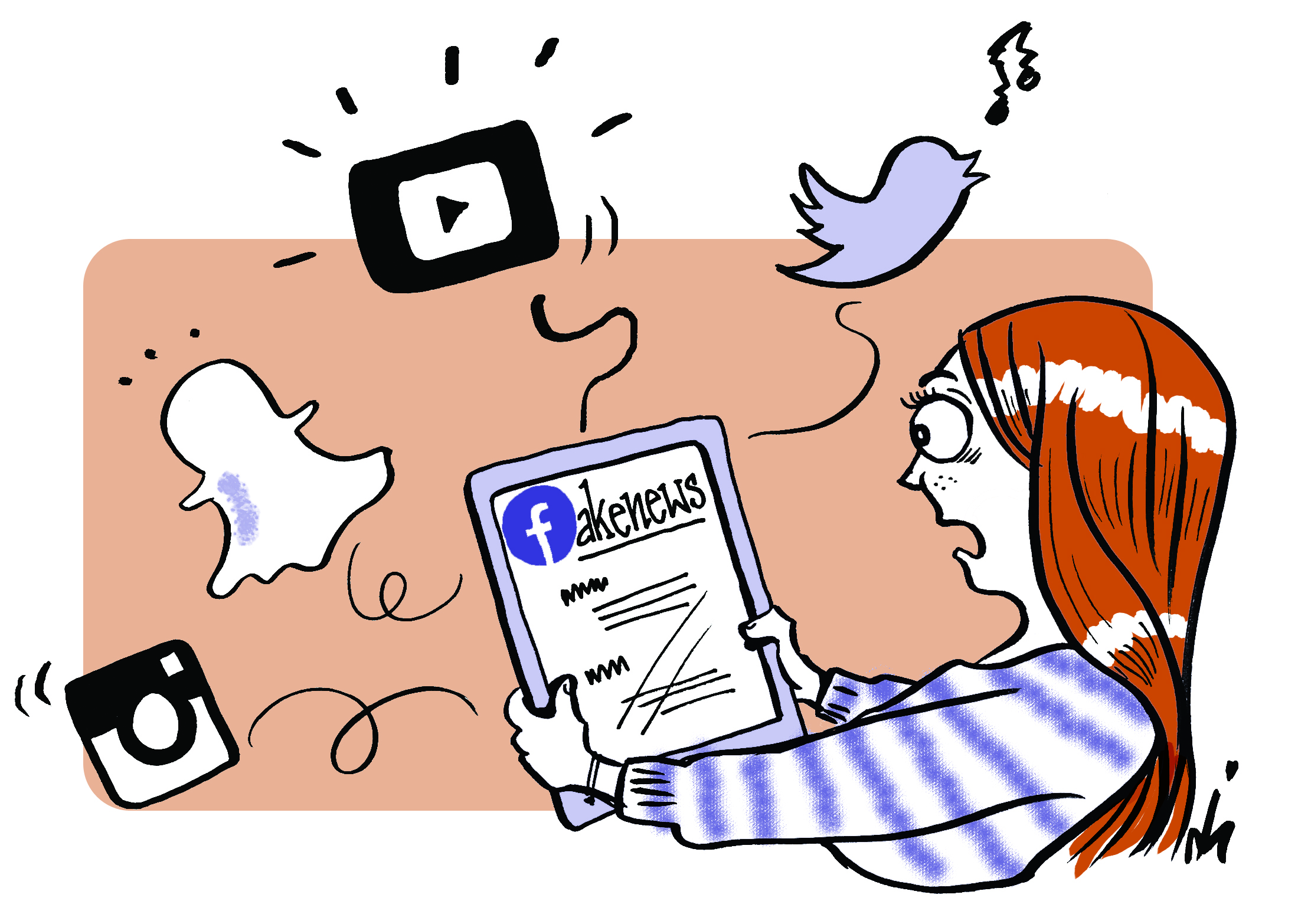 fakenews op tablet facebook twitter