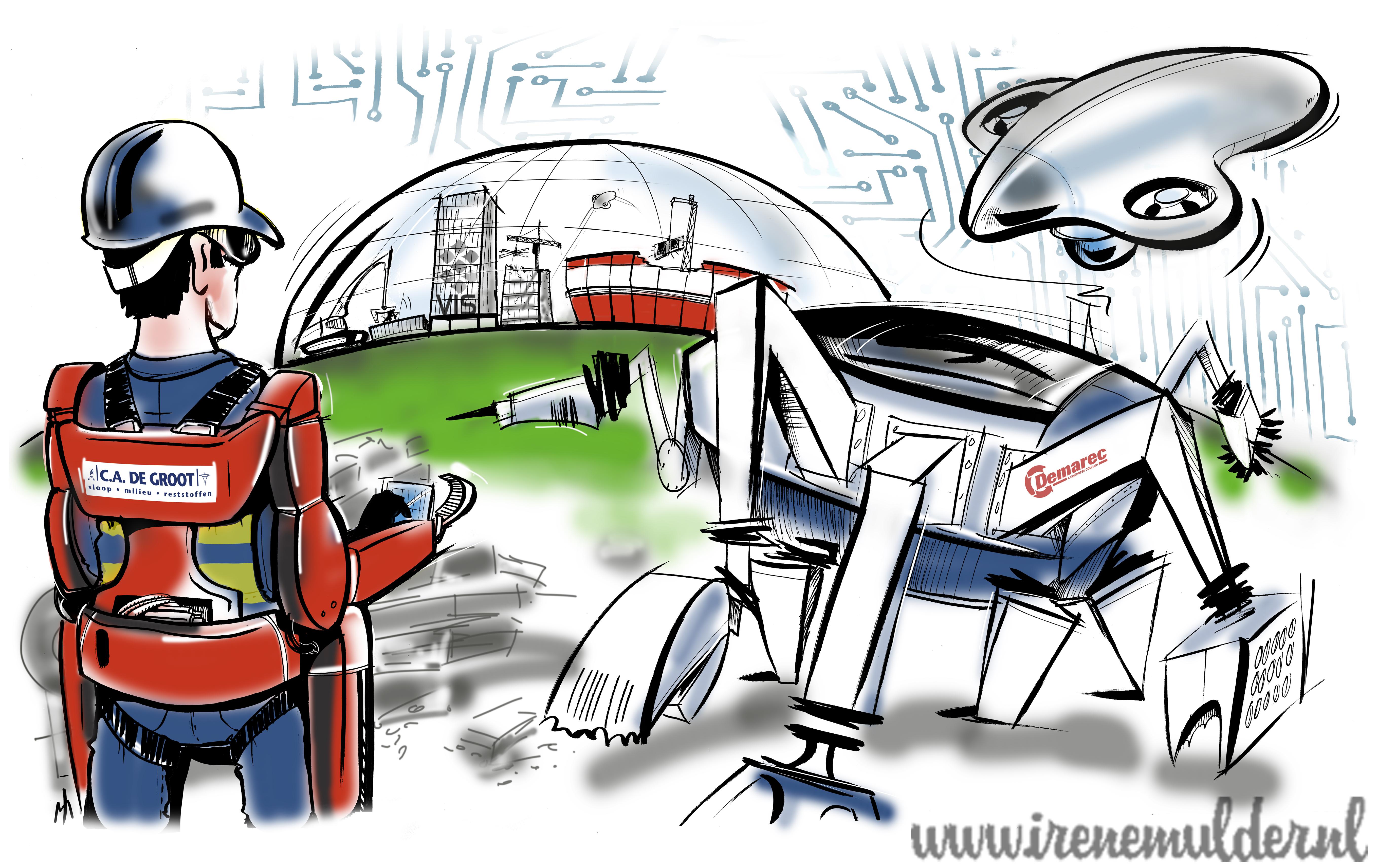 Illustratie hoe sloop er in de toekomst uitziet met robot, drone en afstandbediening.