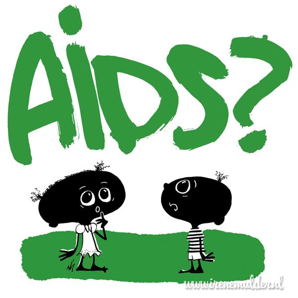 Illustratie van twee kindjes die naar de letters AIDS kijken met vraagteken