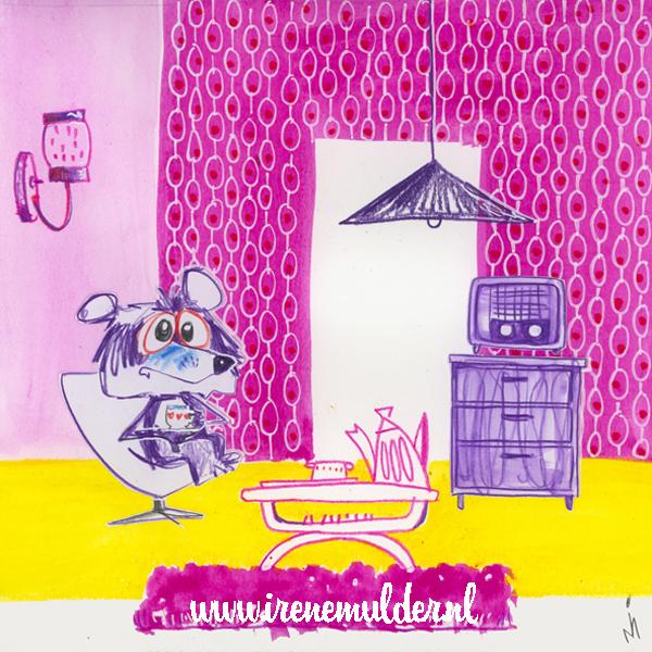 Illustratie van beertje dat thee drinkt in huiskamer